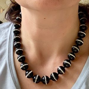 Colleen Lopez Black Agate & Crystal Necklace